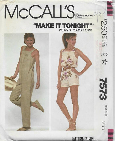 1980s Overalls/Jumpsuit in Two Lengths McCall's 7573 UNCUT FF Bust 30.5-31.5