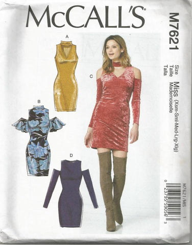 Close Fitting Dress Sleeve & Neckline Variations McCall's 7621 FF Sz XS - XL