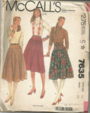 1980s Flared Skirts in Three Lengths Faced Yokes McCall's 7635 UNCUT FF Size 14 Waist 28 Women's Vintage Sewing Pattern