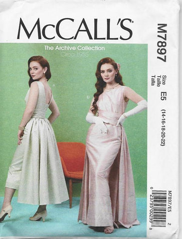 McCall's 7897 Retro Cocktail/Evening Dress UNCUT FF Sz 14-22