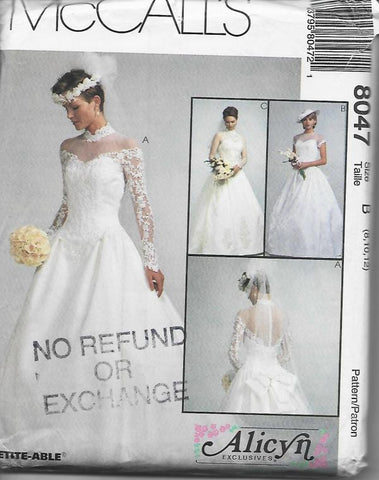 1990s Wedding Dress Gown Optional Train McCall's 8047 UNCUT FF Bust 31.5-34