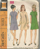 1960s Mod Flared Dress Short or Long Sleeves Front Band McCall's 9183 C/C Bust 34 Women's Vintage Sewing Pattern