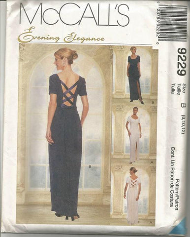 McCall's 9229 Evening Dress with Train Lattice Back UNCUT FF Bust 31.5-34