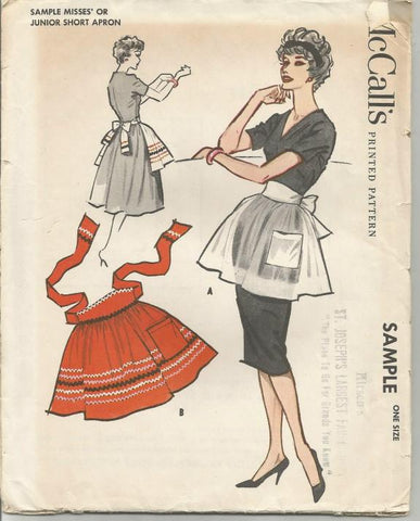 1950s Half Apron Sewing Pattern McCall's Sample UNCUT FF