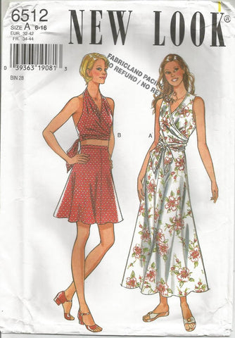 1990s Sexy Halter Wrap Top Cropped or Waist Length and A-Line Skirt in Two Lengths New Look 6512 UNCUT FF Sizes 6-16 Bust 30.5-38 Women's Vintage Sewing Pattern