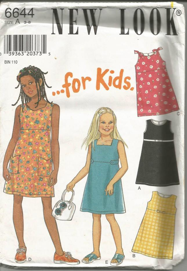 Girls' Sleeveless Dresses Five Versions New Look 6644 UNCUT FF Sizes 3-8 Girls' Sewing Pattern