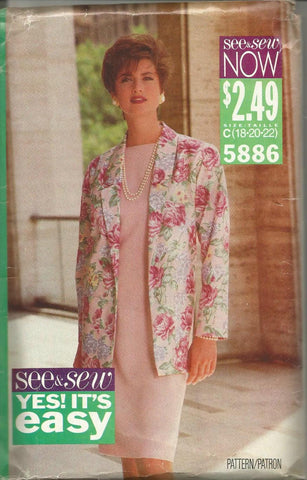 1990s Straight Dress with Cap Sleeves & Jacket Easy to Sew See & Sew 5886 UNCUT FF Sizes 18/20/22 Women's Vintage Sewing Pattern