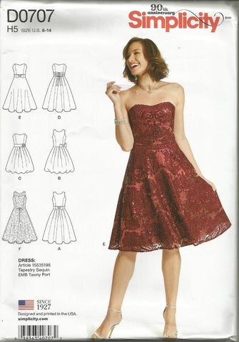 Misses' Cocktail Dress Sun Dress Strapless or Sleeveless Six Styles in One Pattern Simplicity 0707 UNCUT FF Size 6-14 Bust 30.5-36 Women's Sewing Pattern
