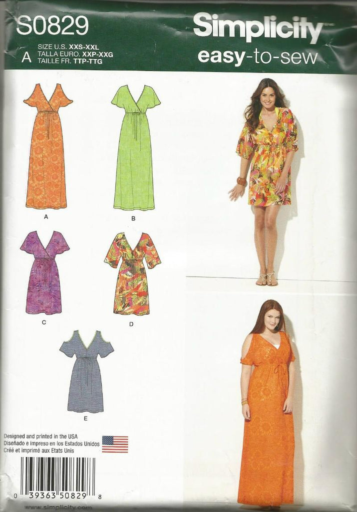 Misses' Evening or Day Dress V Neckline Mock Wrap Bodice Empire Waist Sleeve Variations Simplicity 0829 UNCUT FF Easy to Sew Sizes XXS-XXL Women's Sewing Pattern