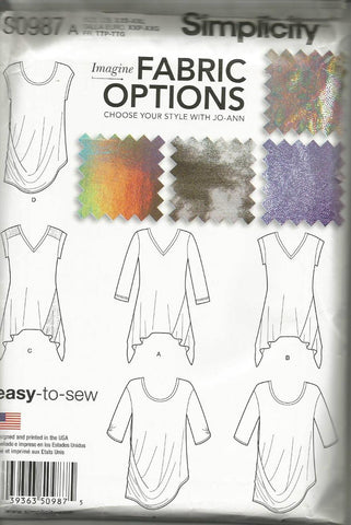 Women's Knit Tops Easy to Sew Pattern for Stretch Knits Only Simplicity 0987 UNCUT FF Fits XXS-XXL Bust 29.5 - 48