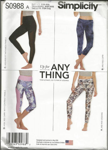 Misses' Knit Leggings Four Styles Simplicity 0988/8212 UNCUT FF Sizes XXS-XXL Waist 22-41.5 Women's Sewing Pattern