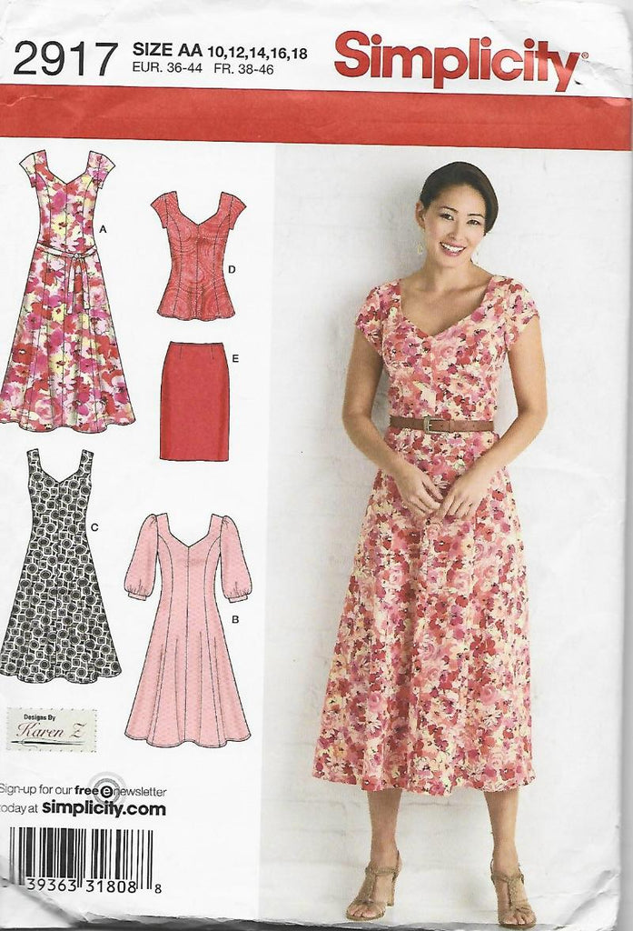 Dress, Tunic, Skirt, Belt Simplicity 2917 UNCUT FF Bust 32.5-40