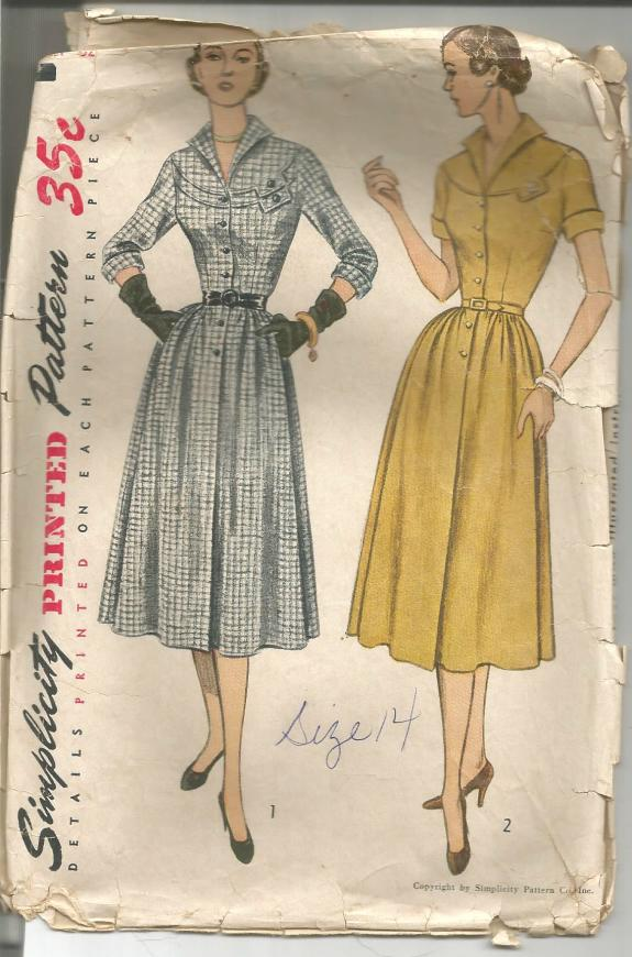 1950s One Piece Dress Sleeve Variations Simplicity 3670 C/C Size 14 Bust 32