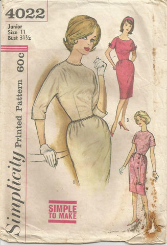 1960s Sheath Dress Kimono Sleeves Neckline and SLeeve Length Variations Simple to Make Simplicity 4022 Bust 31.5 Women's Vintage Sewing Pattern