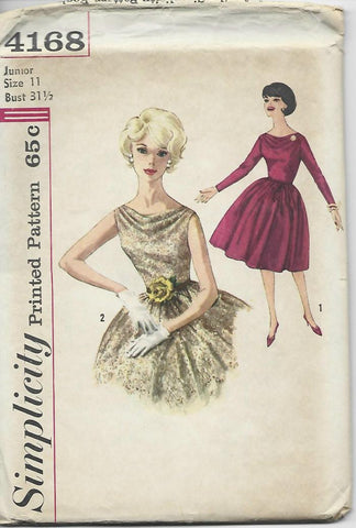 1960s Cocktail Dress Sleeve Variations Simplicity 4168 UNCUT FF Bust 31.5
