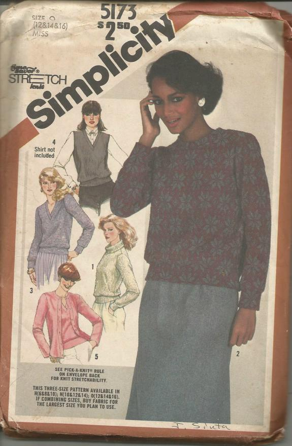 1980s Pullover Sweaters Vest Cardigan For Stretch Knits Only Simplicity 5173 UNCUT FF Sizes 12/14/16 Bust 34/36/38 Women's Vintage Sewing Pattern