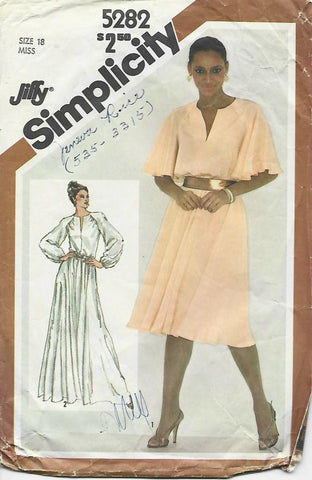 1980s Evening or Day Dress Neckline Slit Sleeve Variations Easy to Sew Simplicity 5282 C/C Size 18 Bust 40 Women's Vintage Sewing Pattern