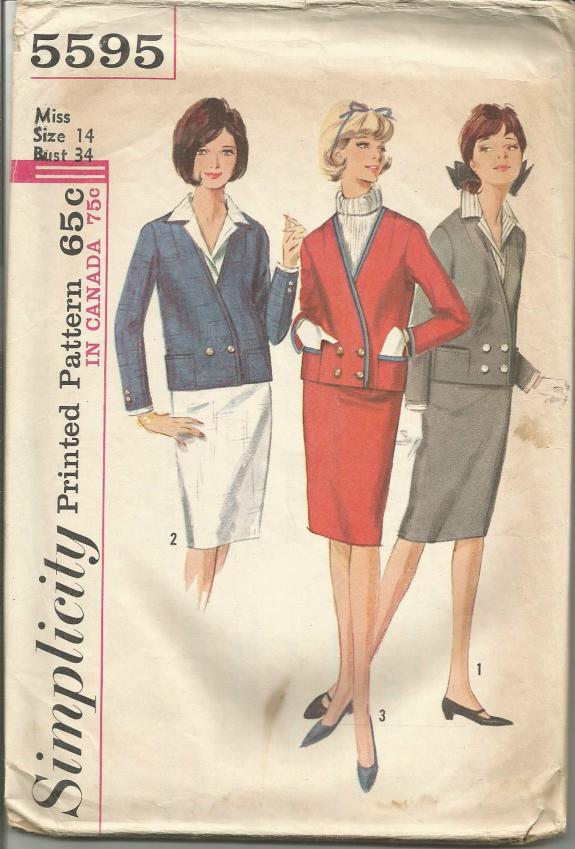 1960s Ladies' Skirt Suit Slim Skirt Removable Dickey and Cuffs Simplicity 5595 Bust 34 Women's Vintage Sewing Pattern