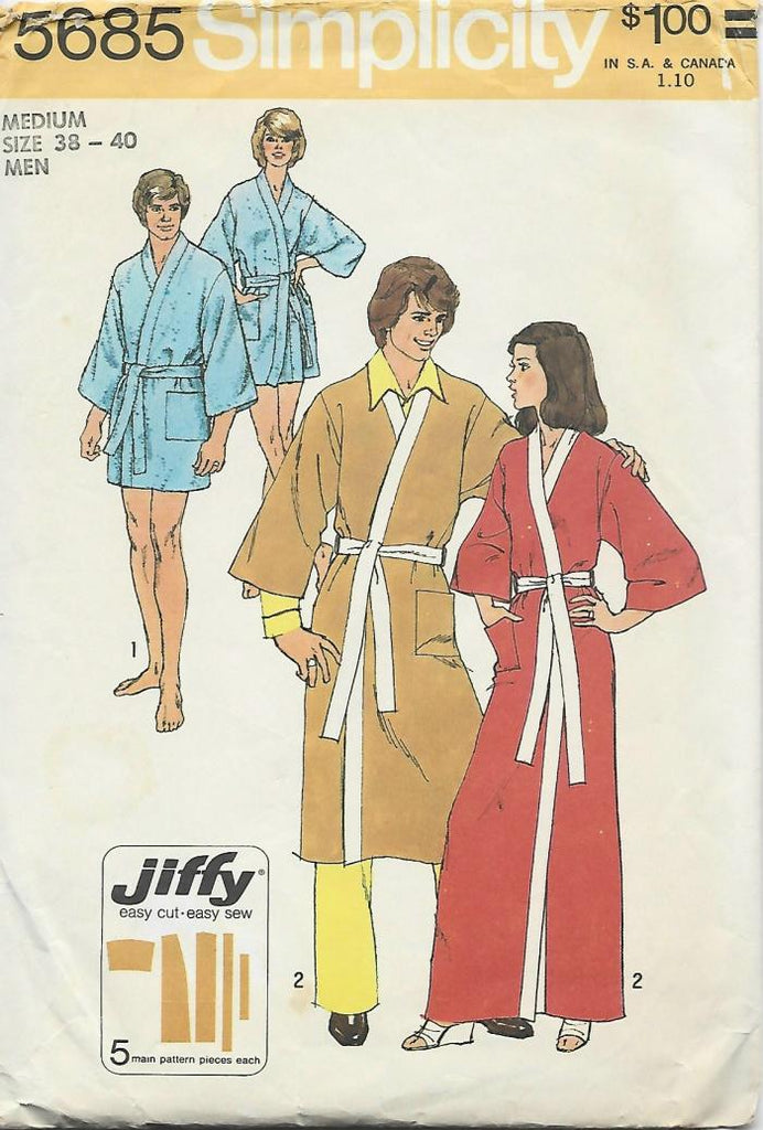 1970s Men's Easy to Sew Robe in 2 Lengths Size 38-40 C/C
