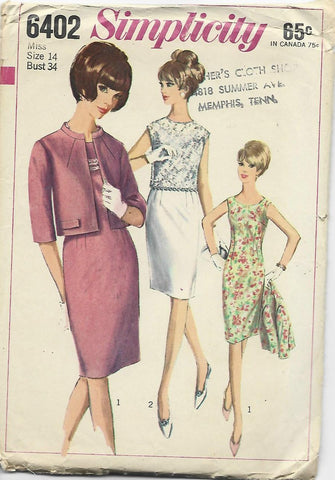 1960s Simplicity 6402 Sheath Cocktail Dress & Jacket Bust 34 C/C