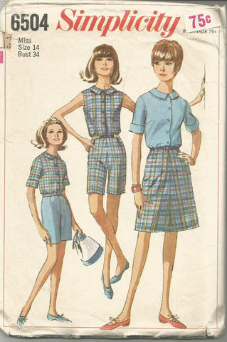 1960s Summer Wardrobe A-Line Skirt Shorts Sleeveless or Short Sleeve Blouse Simplicity 6504 C/C Bust 34 Women's Vintage Sewing Pattern