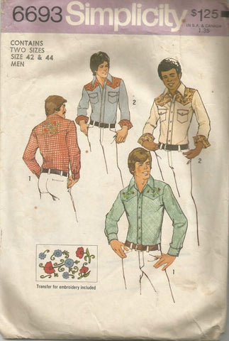 1970s Men's Western Cowboy Nashville Country Shirt Simplicity 6693 Chest 42 - 44 Men's Vintage Sewing Pattern