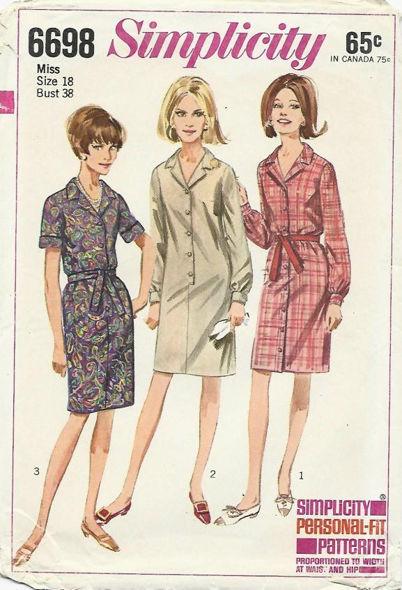1960s Slim Shirtwaist Dress Short or Long Sleeves Tie Belt Simplicity 6698 C/C Bust 38