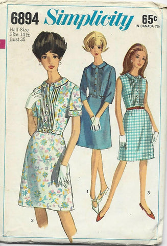 1960s Shirtwaist with Bodice Tucks Simplicity 6894 Bust 35 C/C