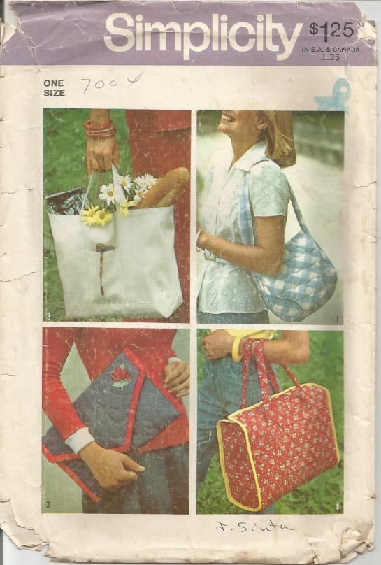 1970s Bags/Handbags /Totes One Size Simplicity 7004 Unused Vintage Sewing Pattern
