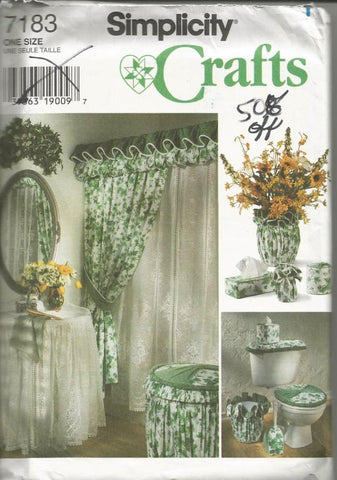 1990s Bathroom Accessories Shower Curtain Sink Skirt Vase Cover Tissue Box Cover Simplicity 7183 UNCUT FF Vintage Sewing Pattern