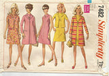 1960s Shift Dress Jacket & Clutch Coat Simplicity 7482 C/C Bust 34