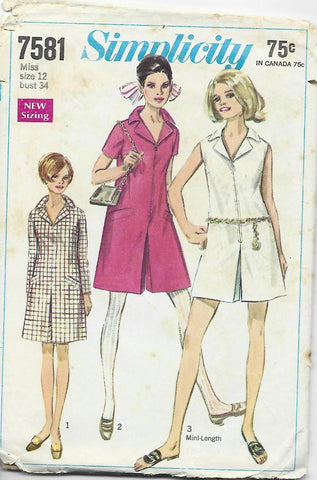 1960s Simplicity 7581 Pantdress in 3 Lengths C/C Bust 34