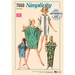1960s Retro Kite Dress Caftan Beach Cover Up Length Variations One Size OUT OF PRINT Simplicity 7650 Uncut FF Women's Vintage Reprint Sewing Pattern