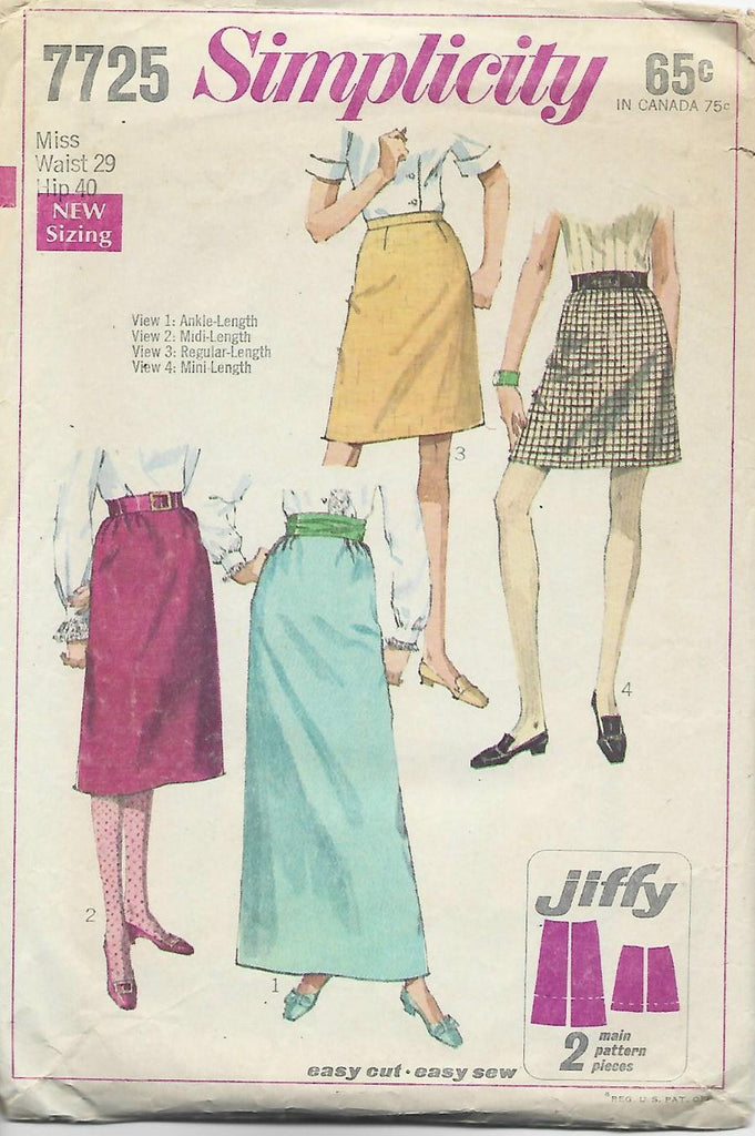 1960s Skirts in 4 Lengths Jiffy Pattern Simplicity 7725 C/C Waist 29