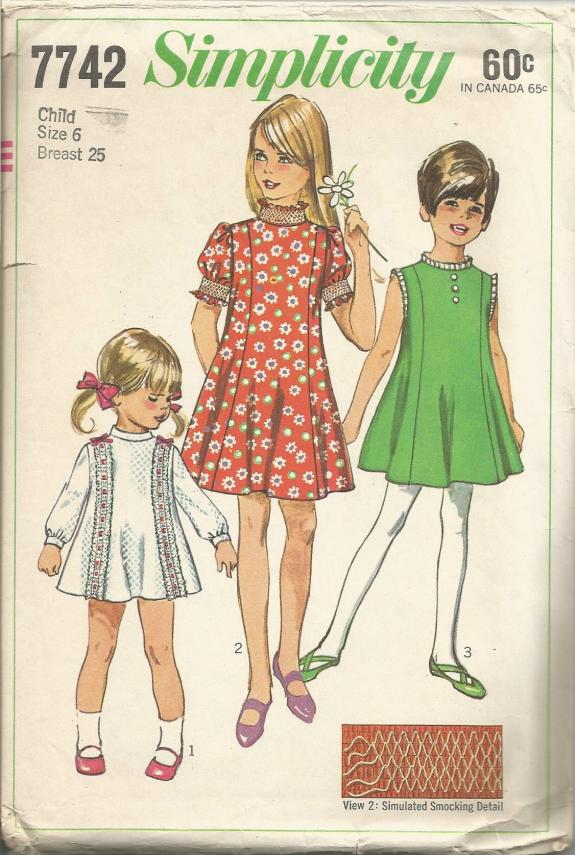 1960s Girl's Princess Dress Sleeve Variations Simplicity 7742 Size 6
