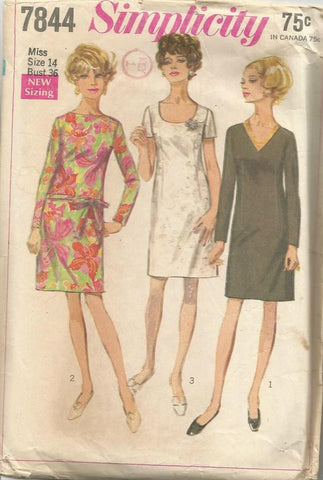 1960s Sheath Dress Short or Long Sleeves Simplicity 7844 Bust 36 C/C Women's Vintage Sewing Pattern