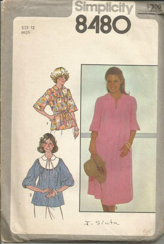 1970s Pullover Dress or Top with Tie Belt Raglan Sleeves Round Yoke Elbow Length Sleeves Jiffy Pattern Simplicity 8480 UNCUT FF Bust 34 Women's Vintage Sewing Pattern