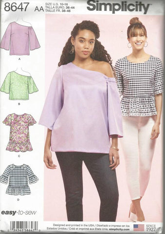 Misses'/Women's One Shoulder or Scoop Neck Tops Sleeve & Length Variations Four Styles in One Easy to Sew Simplicity 8647 UNCUT FF Size 10-18 Bust 32.5-40 Women's Sewing Pattern