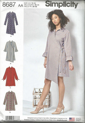 Simplicity 8687 Wrap or Button Front Dress UNCUT FF Sz 10-18