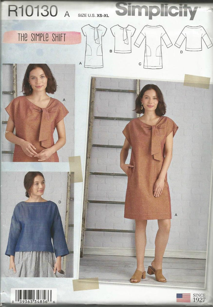 Misses' Shift Dresses and Tops Tie Ends Neckline or Bateau Sleeve Variations Simplicity 10130/8878 UNCUT FF Sizes XS-XL Women's Sewing Pattern
