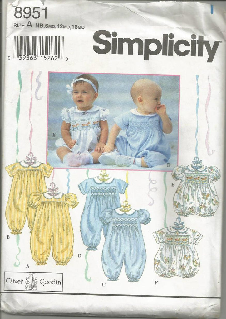 1990s Oliver Goodin Smocked Baby Rompers in 2 Lengths Simplicity 8951 Newborn - 18 Months UNCUT FF Baby's Vintage Sewing Pattern