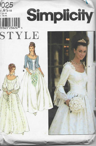 1990s Wedding or Evening Gown Simplicity 9025 UNCUT FF Size 8-18