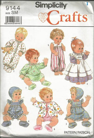 1980s Baby Doll Clothes for 13 - 14 Inch Dolls Simplicity 9144 UNCUT FF Vintage Doll Clothes Pattern