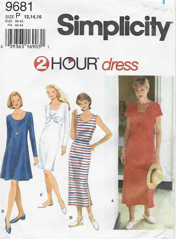 1990s Set of Knit Dresses 4 Styles 2 Hour Dress Simplicity 9681 C/C Bust 34-36-38