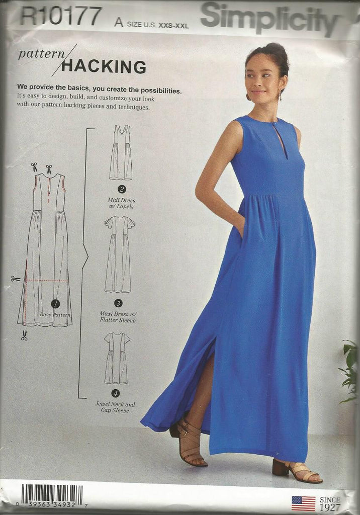 2000s Day or Evening Dress Four Styles Sleeveless Flutter Sleeves Simplicity R10177 UNCUT FF Sizes XXS - XXL Bust 29.5 - 48 Women's Sewing Pattern