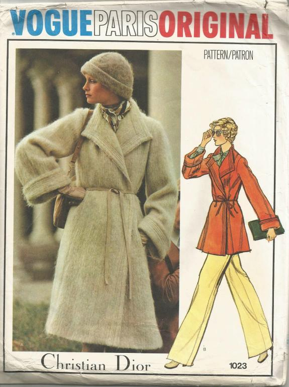 1970s Christian Dior Double Breasted Wrap Coat in Two Lengths Bell Sleeves Vogue 1023 UNUSED Size 14 Bust 36 Women's Vintage Sewing Pattern