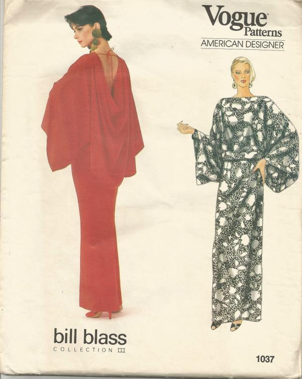 1980s Evening Wear Back Draped Top & Straight Skirt Kimono Sleeves Bill Blass Vogue 1037 UNCUT FF Size 8 10 12 Womens Vintage Sewing Pattern