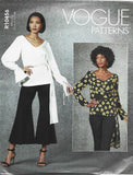 Vogue 10456/1679 V Neck Top Wrap Front Panel Sleeve Variations Easy to Sew FF UNCUT Bust 36-44