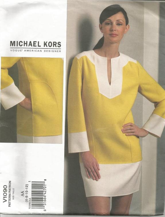 Michael Kors Mod Style Easy to Sew Lined Shift Dress Vogue 1090 UNCUT FF Sz 6 - 12 Bust 30.5 - 34 Womens Sewing Pattern Womens Dress Pattern