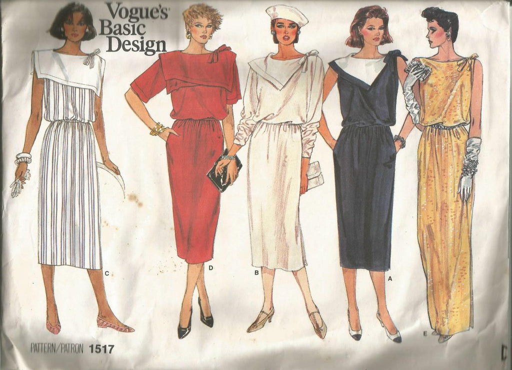 1980s Pullover Dress Day or Evening Collar & Neckline Variations Vogue 1517 UNCUT FF Bust 31.5 Women's Vintage Sewing Pattern